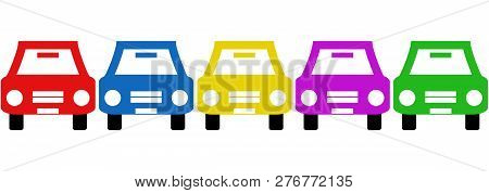 Symbols Of 5 Colorful Car Icons On White