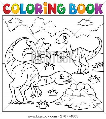 Coloring Book Dinosaur Subject Image 2 - Eps10 Vector Picture Illustration.