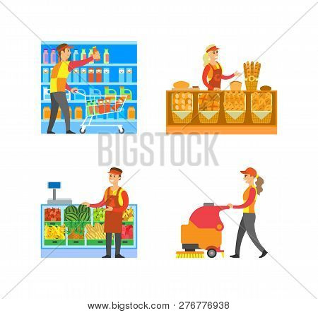 Supermarket Bakery And Fruits Department With Salesperson Vector. Cleaner And Merchandiser, Breads A