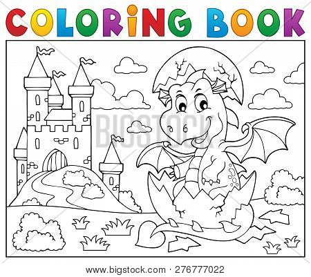 Coloring Book Dragon Hatching From Egg 2 - Eps10 Vector Picture Illustration.