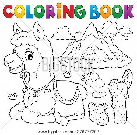 Coloring Book Llama Near Mountain - Eps10 Vector Picture Illustration.