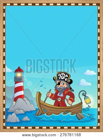 Pirate In Boat Topic Parchment 1 - Eps10 Vector Picture Illustration.