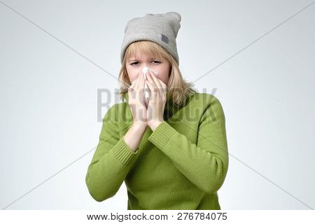 Young European Blonde Woman Got Sick And Flu