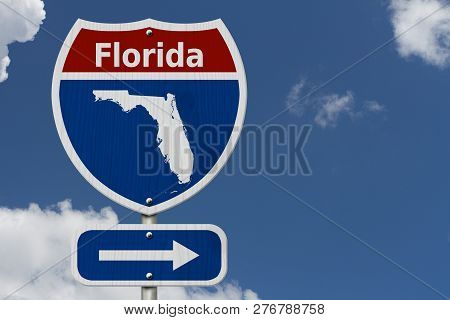 Road Trip To Florida, Red, White And Blue Interstate Highway Road Sign With Word Florida And Map Of
