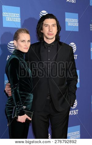 PALM SPRINGS - JAN 17:  Joanne Tucker, Adam Driver at the 30th Palm Springs International Film Festival Awards Gala at the Palm Springs Convention Center on January 17, 2019 in Palm Springs, CA