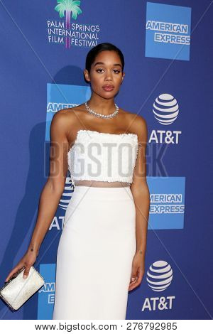 PALM SPRINGS - JAN 17:  Laura Harrier at the 30th Palm Springs International Film Festival Awards Gala at the Palm Springs Convention Center on January 17, 2019 in Palm Springs, CA