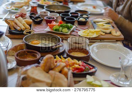 Turkish Breakfast, Tomatoes, Cucumber, Sausage,olive,honey,butter, Fried Egg,turkish Tea.turkish Ric