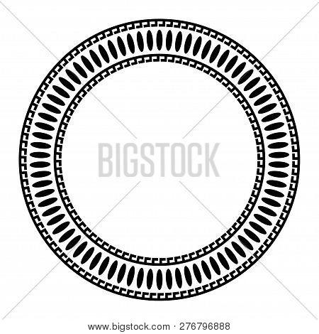 Greek Key Round Frame. Typical Egyptian, Assyrian And Greek Motives Circle Border.