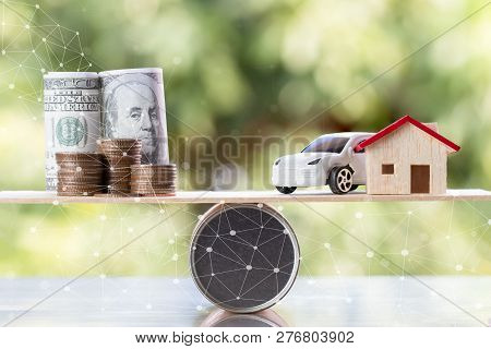 Business Real Estate Investment Concept : Wooden Home, Car With Stack Of Money Coins Us Dollar,jpy O