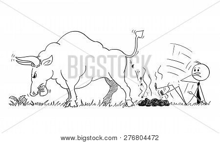 Cartoon Stick Man Drawing Conceptual Illustration Of Businessman Slipped On Dung Or Excrement Of Bul