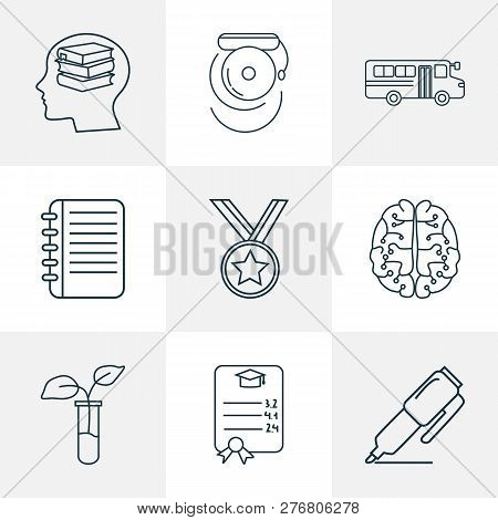 Education Icons Line Style Set With Medal, Self Study, School Bus And Other Learn Elements. Isolated