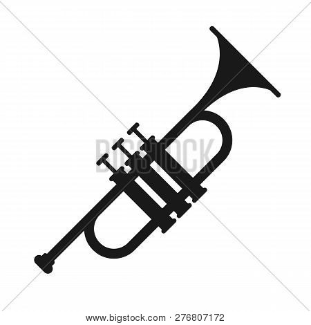 Trumpet Isolated On White Background.  Trumpet Silhouettes. Musical Instrument Icon. Vector Stock.