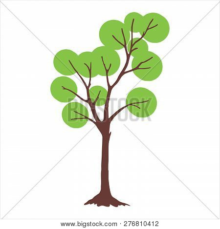 Tree With Circle Green Leaves. Tree Icon Isolated On White Background. Tree Icon Simple Sign. Tree I