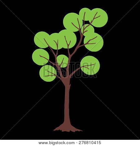 Tree With Circle Green Leaves. Tree Icon Isolated On Black Background. Tree Icon Simple Sign. Tree I