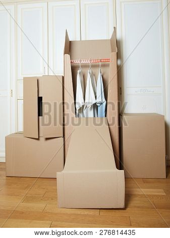 Moving Boxes. Cardboard Box. Stack Of Boxes. Box For Clothes