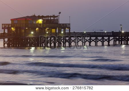 Fishing Pier In Galveston. Galveston, Texas, Usa.