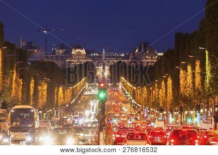 Champs-elysees In Paris In France. Paris, Ile-de-france, France.