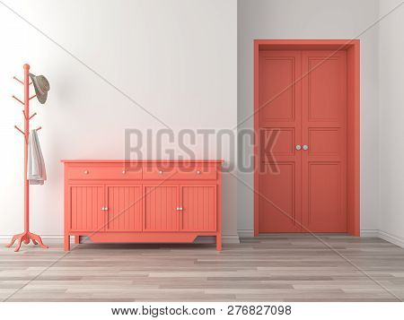 Empty Room Entrance Hall Interior With Coral Color Concept 3d Render,there Are Wood Floor,white Wall