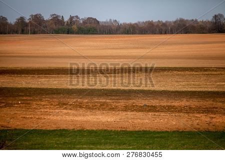 Spring Landscape With Plowed Field. Plowed Cereal Field In Spring. Classic Rural Landscape In Latvia