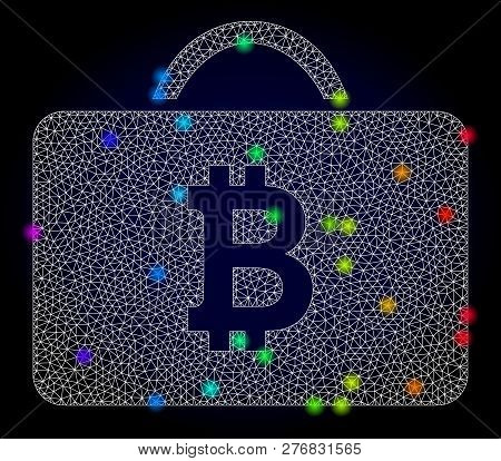 Glossy Polygonal Mesh Bitcoin Case Icon With Glow Effect On A Dark Background. Carcass Bitcoin Case