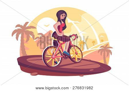 Girl Riding Bicycle On The Beach Vector
