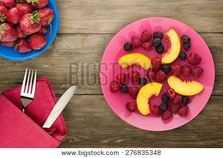 Dietary, Healthy Food. Blackberry, Raspberry, Nectarine On A Plate On A Plate. Vegetarian Food On A