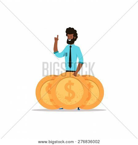 Afroamerican Business Man  Standing With Big Golden Coins. Money Investment. Cartoon Flat Character