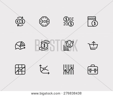 Trading Icons Set. Chart And Trading Icons With Sell, Stock Market And Ico. Set Of Sale For Web App