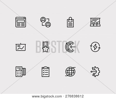 Business Icons Set. Business Training And Business Icons With Web, Powerpoint Presentation And Busin