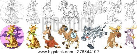 Cartoon Animal Set. Childish Collection Of Hoofed Mammals. Giraffe, Lama Alpaca, Camel, Zebra, Elk,