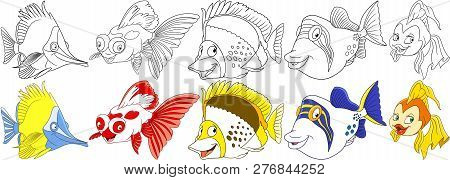 Cartoon Ocean Animals Set. Longnose Butterfly Fish, Koi Carp, Angelfish, Filefish, Goldfish. Colorin