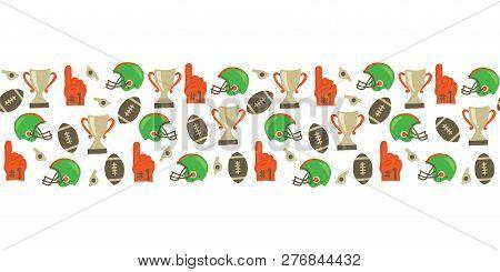 American Football Seamless Vector Border. Helmet, Trophy, Foam Finger, Football. Super Bowl Vintage