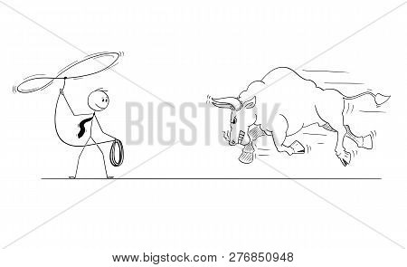 Cartoon Stick Man Drawing Conceptual Illustration Of Businessman Cowboy Trying To Catch Running Angr