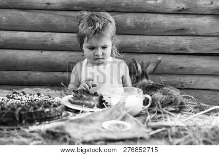 Cute Boy In White Pinafore And Little Rabbit At Table Served With Fruit Cake And Cup Of Milk Outdoor