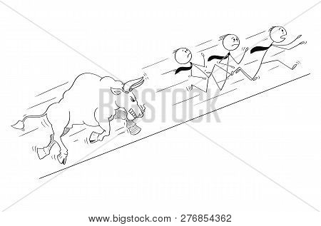 Cartoon Stick Drawing Conceptual Illustration Of Group Of Businessmen Running Uphill Away From Angry