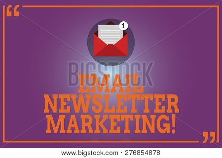 Conceptual Hand Writing Showing Email Newsletter Marketing. Business Photo Text Inform Users About P