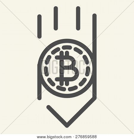 Bitcoin Down Arrow Line Icon. Fall Bitcoin Vector Illustration Isolated On White. Cryptocurrency Dec
