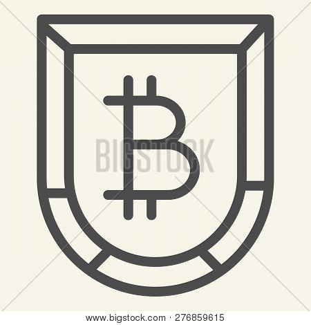 Protect Bitcoin Line Icon. Bitcoin Shield Vector Illustration Isolated On White. Cryptocurrency Secu