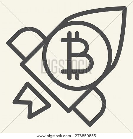 Bitcoin Launching Line Icon. Cryptocurrency Rocket Vector Illustration Isolated On White. Cryptocurr