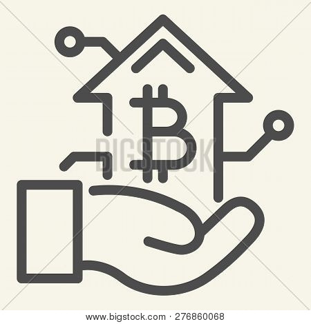 Bitcoin Growth Chart In Hand Line Icon. Arm With Cryptocurrency Graph Vector Illustration Isolated O