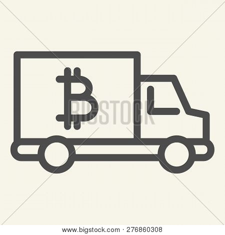 Bitcoin Car Line Icon. Crypto Van Vector Illustration Isolated On White. Bitcoin Transport Outline S