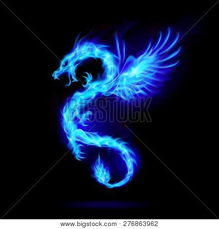 Illustration Of Blue Fire Chinese Dragon With Wings Symbol Of Wisdom And Power On Black