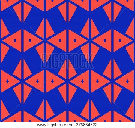 Vector Geometric Triangles Seamless Pattern. Stylish Colorful Blue And Red Texture. Abstract Ornamen