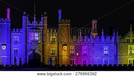 Hampton Court, London, Uk - January 4: Picture Of Hampton Court Palace Illumination On January 4, 20