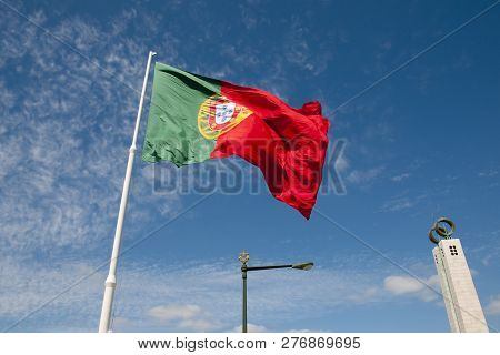 National Flag At The Monument To The Carnation Revolution - Lisbon - Portugal