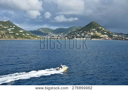 Coastline Scenery From St Maartin In The Netherlands Antilles