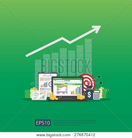 Big Data Analysis On Screen. Seo Analytic Or Spreadsheet Business Audit With Graphs And Charts. Retu