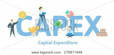 Capex, Capital Expenditure. Concept With Keywords, Letters And Icons. Flat Vector Illustration. Isol
