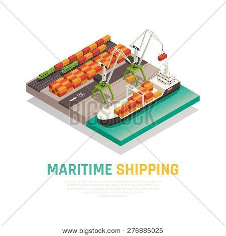 Maritime Shipping Isometric Composition  Illustrating Cargo Loading To Barge In Seaport   Vector Ill