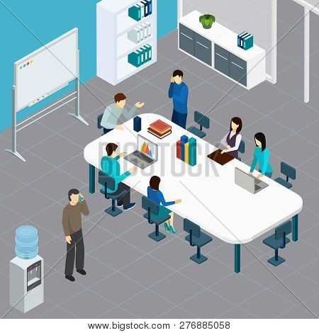 Office Staff During Work Meeting At Big Table In Conference Room Isometric Composition Vector Illust